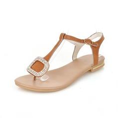Äkta läder Flat Heel Sandaler Slingbacks med Strass skor (087049388)