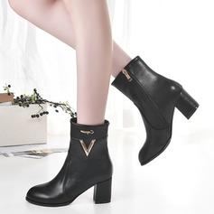 Женщины кожа Устойчивый каблук Ботинки с Застежка-молния Другие обувь (088109393)