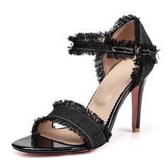 Kvinnor Jeans Stilettklack Sandaler Pumps med Spänne skor (087155490)