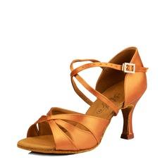 Женщины Атлас Шелковые На каблуках Сандалии Латино Обувь для танцев (053115116)
