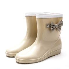 Женщины PVC Вид каблука Танкетка Ботинки Резиновые сапоги с бантом обувь (088146821)