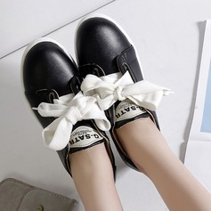 Women's PU Flat Heel Flats Closed Toe With Lace-up shoes (086145717)