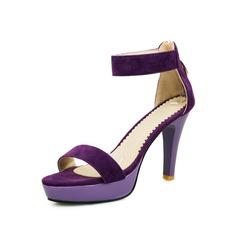 Konstläder Stilettklack Sandaler Plattform med Zipper skor (087050157)
