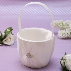 Classic Flower Basket in Satin With Rhinestones (102037356)