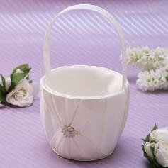 Classic Flower Basket in Satin With Rhinestones (102037356)