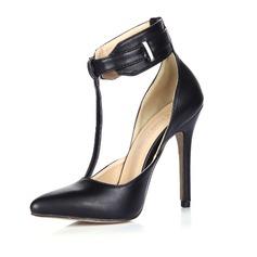 Couro Salto agulha Bombas Fechados sapatos (085038948)
