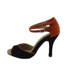 Женщины нубук На каблуках Сандалии Латино с Ремешок на щиколотке Обувь для танцев (053047224)