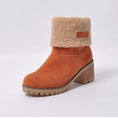 Femmes Suède Talon bottier Escarpins Bout fermé Bottes Bottines Bottes neige avec Fourrure chaussures (088185763)