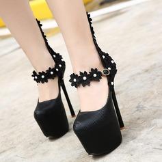 Женщины PU Высокий тонкий каблук На каблуках Платформа Закрытый мыс с Имитация Перл Цветок обувь (085127519)