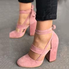 Женщины Замша Устойчивый каблук Сандалии На каблуках Закрытый мыс с Шнуровка обувь (085124946)