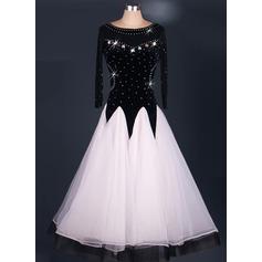 Женщины Одежда для танцев Органза Латино Платья (115091482)