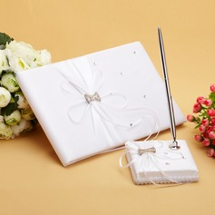 Luxury Ribbons/Rhinestones/Bow Guestbook & Pen Set (101038614)