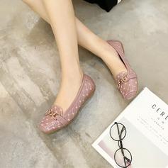 Женщины PU Низкий каблук На плокой подошве Закрытый мыс с Цепь обувь (086142479)