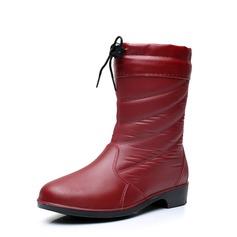 Женщины PVC Низкий каблук Ботинки Сапоги до середины голени Резиновые сапоги с Шнуровка обувь (088138747)