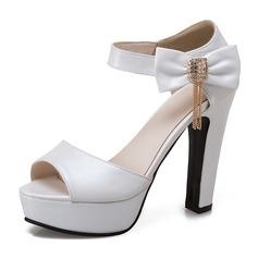 Женщины PU Высокий тонкий каблук Сандалии На каблуках Платформа с бантом обувь (087155471)