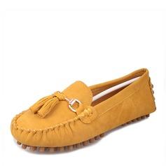 Женщины Замша Плоский каблук На плокой подошве Закрытый мыс с кисточкой обувь (086152987)