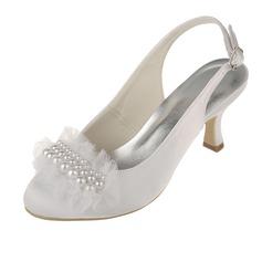 Женщины Атлас Каблук Закрытый мыс На каблуках Босоножки с Имитация Перл (047060331)