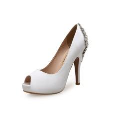 Женщины Замша Шелковые Круглый зауженный каблук Платформа Открытый мыс с горный хрусталь обувь (085100751)