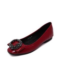 Женщины PU Плоский каблук На плокой подошве Закрытый мыс с горный хрусталь обувь (086139674)