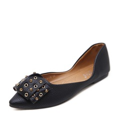 Женщины PU Плоский каблук На плокой подошве Закрытый мыс с бантом заклепки обувь (086139695)