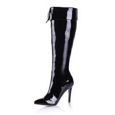 Women's Patent Leather Stiletto Heel Over The Knee Boots With Zipper shoes (088038958)