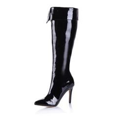 Лакированная кожа Высокий тонкий каблук Сапоги выше колен с Застежка-молния обувь (088038958)