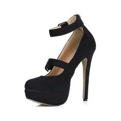 Suède Talon stiletto Escarpins Plateforme Bout fermé avec Boucle chaussures (085022613)