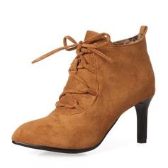 Mulheres Camurça Salto agulha Bombas Botas Bota no tornozelo com Aplicação de renda sapatos (088143731)
