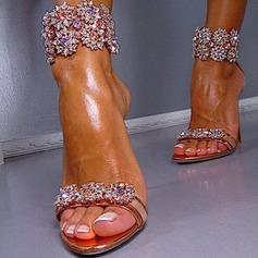 Mulheres Couro Salto agulha Sandálias com Cristal Zíper sapatos (087114598)