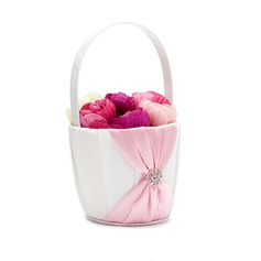 Hübsche Blumenkorb in Satin mit Strasssteine/Schleifenbänder/Stoffgürtel (102049653)