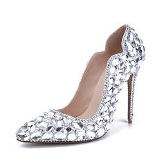 Женщины Лакированная кожа Высокий тонкий каблук Закрытый мыс На каблуках с горный хрусталь Каблуки с кристаллами (047065297)