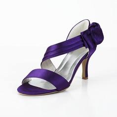 Vrouwen Satijn Spool Hak Peep Toe Sandalen met Strik Velcro (047029878)