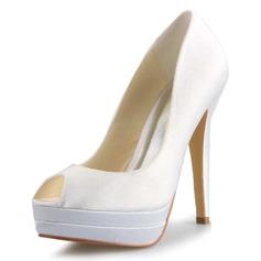 Kvinnor Satäng Stilettklack Peep Toe Plattform Pumps Sandaler (047056191)