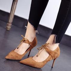 Женщины Замша Высокий тонкий каблук На каблуках Закрытый мыс с Шнуровка обувь (085111613)