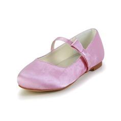 девичий Закрытый мыс сатин Плоский каблук На плокой подошве Обувь для девочек с бантом (207095466)