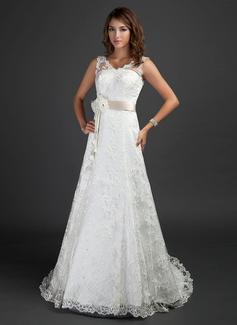 Corte A/Princesa Escote en V Cola corte Encaje Vestido de novia con Fajas Cuentas Flores (002000187)