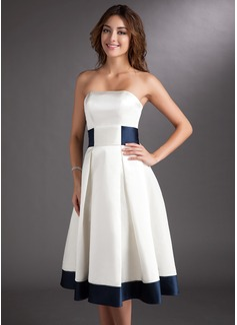Corte A Sin tirantes Hasta la rodilla Satén Vestido de novia con Fajas Lazo(s) (002000067)