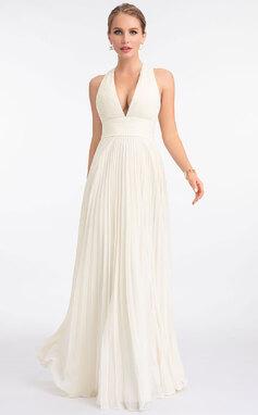 Corte A Escote en V Hasta el suelo Gasa Vestido de novia con Plisado (002207444)