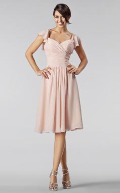 A-linjainen/Prinsessa Kullanmuru Polvipituinen Sifonki Morsiusneitojen mekko jossa Helmikuvoinnit Laskeutuva röyhelö (007005233)