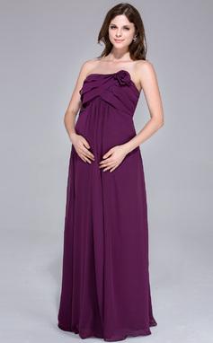 Corte imperial Sin tirantes Hasta el suelo Gasa Dama de honor embarazada con Flores Cascada de volantes (007026199)