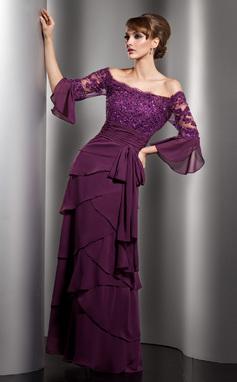 A-Linjainen Off--Shoulder Lattiaa hipova pituus Sifonki Morsiamen äiti-mekko jossa Pitsi Helmikoristelu Paljetit Rusetti Laskeutuva röyhelö (008005753)