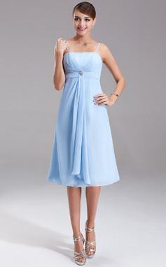 Empire-tyylinen Polvipituinen Sifonki Morsiusneitojen mekko jossa Kristallirintakoru Laskeutuva röyhelö (007001080)