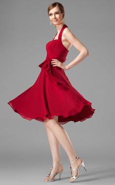 A-linjainen/Prinsessa Niskalenkillä Polvipituinen Sifonki Morsiusneitojen mekko jossa Rypytys Rusetti (007001816)