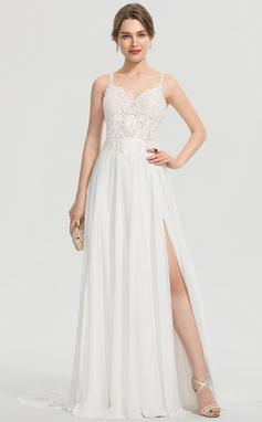 Corte A Escote en V Barrer/Cepillo tren Gasa Vestido de novia con Apertura frontal (002207429)