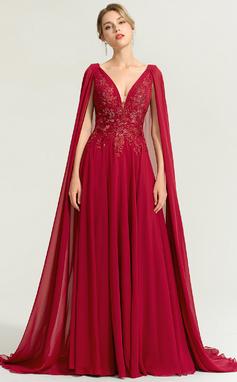 Corte A Escote en V Hasta el suelo Gasa Vestido de novia con Lentejuelas (002207442)