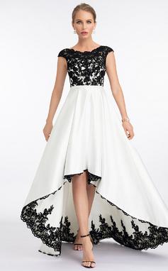 Corte A Escote redondo Asimétrico Satén Vestido de novia (002207431)