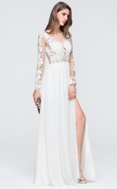 Corte A Novio Hasta el suelo Gasa Vestido de novia con Apertura frontal (002118455)