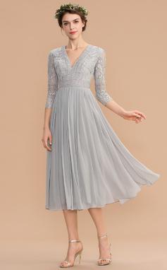 A-Linjainen V-kaula-aukko Polven alle Sifonki Pitsi Morsiusneitojen mekko jossa Laskostettu (007176760)