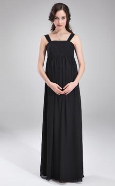 Corte imperial Escote Cuadrado Hasta el suelo Gasa Dama de honor embarazada con Volantes (045004392)