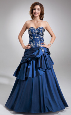 Tanssiaismekot Kullanmuru Lattiaa hipova pituus Tafti Quinceanera mekko jossa Kirjailtu Helmikuvoinnit Laskeutuva röyhelö (021004555)